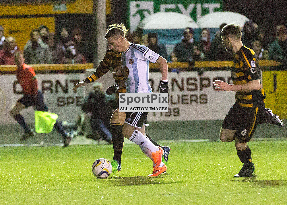 Alloa Athletic v Hearts Scottish Championship 31 January 2015; Heart's Jamie Walker scores during the Alloa Athletic v Heart of Midlothian Scottish Championship match played at Indodrill Stadium, Alloa;