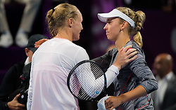 February 14, 2019 - Doha, QATAR - Kiki Bertens of the Netherlands & Elise Mertens of Belgium at the net after their quarter-final match at the 2019 Qatar Total Open WTA Premier tennis tournament (Credit Image: © AFP7 via ZUMA Wire)