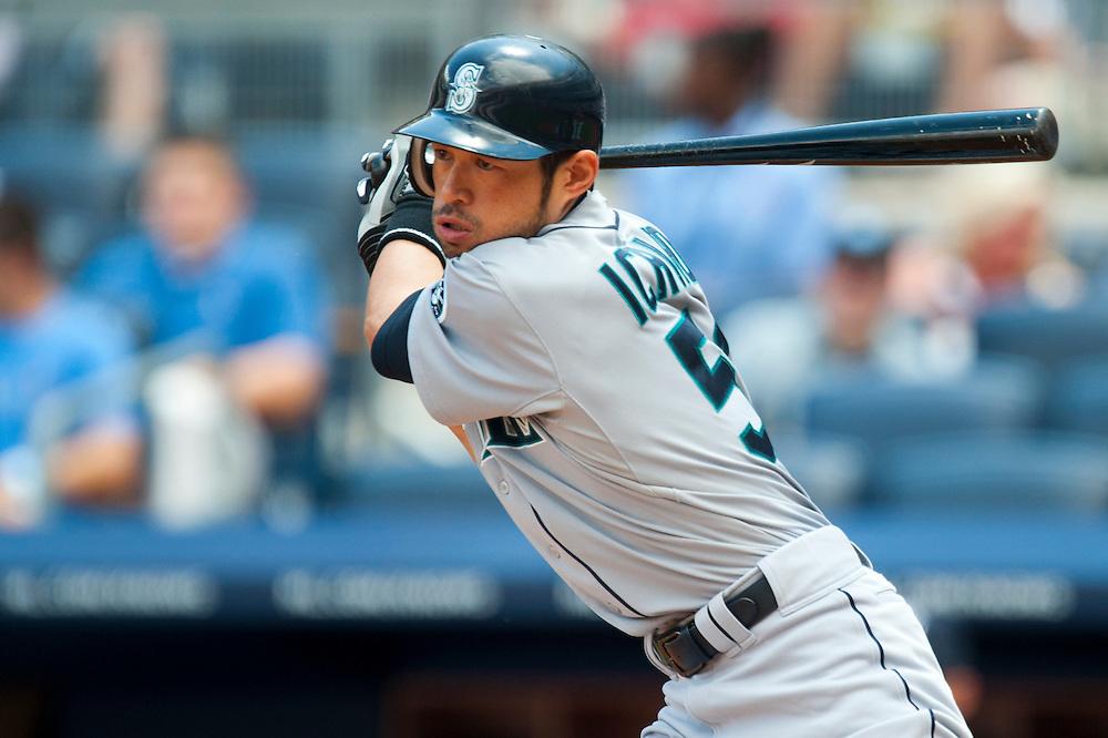 NEW YORK - JULY 27: Ichiro Suzuki #51 of the Seattle Mariners bats during the game against the New York Yankees at Yankee Stadium on July 27, 2011 in the Bronx borough of Manhattan. (Photo by Rob Tringali) *** Local Caption *** Ichiro Suzuki