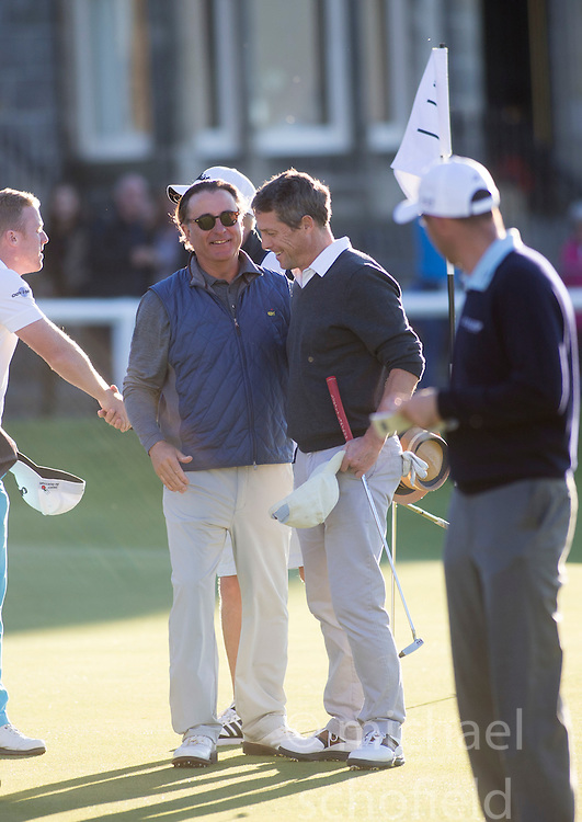 Andy Garcia and Hugh Grant. Alfred Dunhill Links Championship this afternoon at St Andrews.