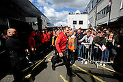 Liverpool goalkeeper Simon Mignolet arriving before the Barclays Premier League match between Bournemouth and Liverpool at the Goldsands Stadium, Bournemouth, England on 17 April 2016. Photo by Graham Hunt.
