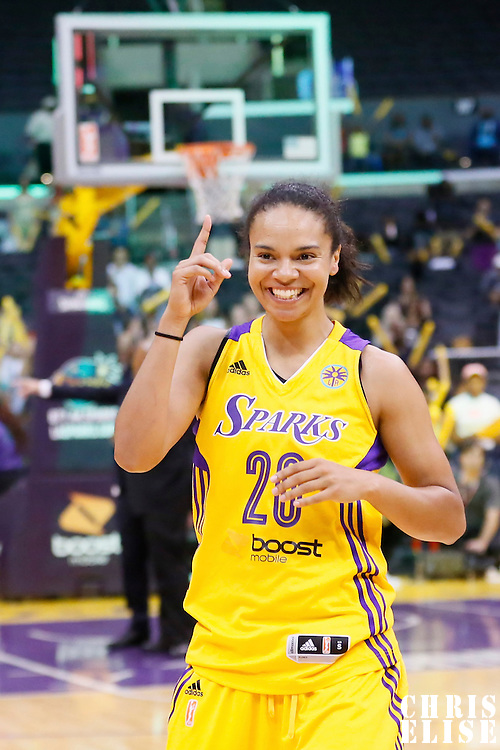 03 August 2014: Los Angeles Sparks guard Kristi Toliver (20) celebrates during the Los Angeles Sparks 70-69 victory over the Connecticut Sun, at the Staples Center, Los Angeles, California, USA.