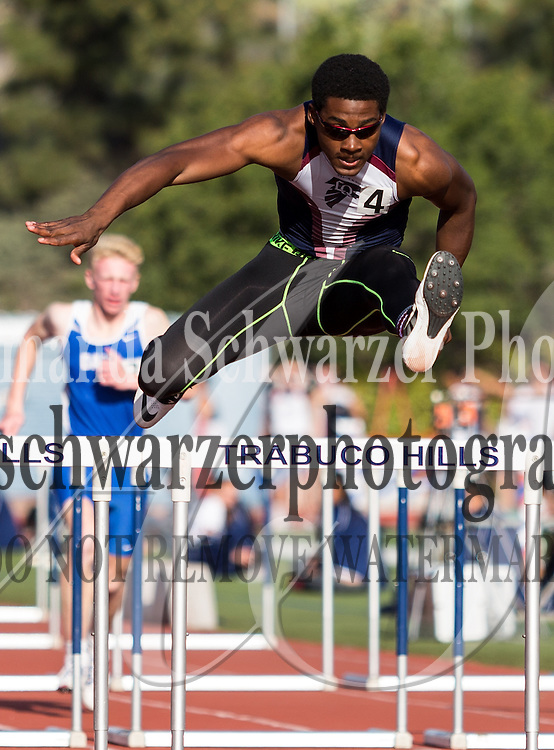 La Quinta High hurdler flies past the competition in the boys 110 meter hurdles at the Trabuco Hills Invitational.  Image Credit: Amanda Schwarzer