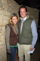 Left to right, the HON.EDWARD TOLLEMACHE and MISS SOPHIE JOHNSTONE at a fundraising party ay Umbaba nightclub, London on 5th April 2005 for Hugh Van Cutsem and brothers DOM and IAN ROBERTSON who intend to compete in the Marathon de Sables - 140 mile journey across the Sahara Desert in 7 days.  Money raised will go to their chosen charities the Fara Foundation and the Ian Maclay Leukaemia Trust.<br />
