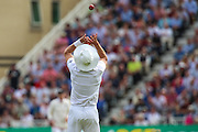 Stuart Broad catches David Warner during 2nd day of the Investec Ashes Test match between England and Australia at Trent Bridge, Nottingham, United Kingdom on 7 August 2015. Photo by Shane Healey.