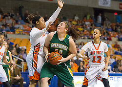 Greenbrier East center Sydney Nunley (50) makes a move down low against South Charleston during a first round game at the Charleston Civic Center.