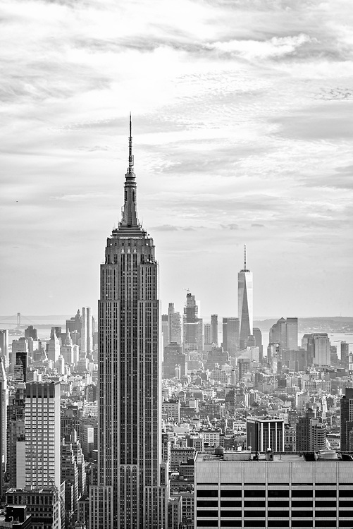 Black and white view of Manhattan.