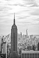 Black and white view of Manhattan.