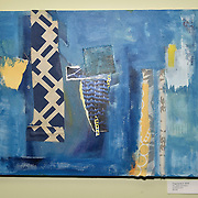 Fragments 2, 2016<br /> oil, paper &amp; fabric<br /> 16&quot;x20&quot;<br /> $100.00<br /> by Dona Leon