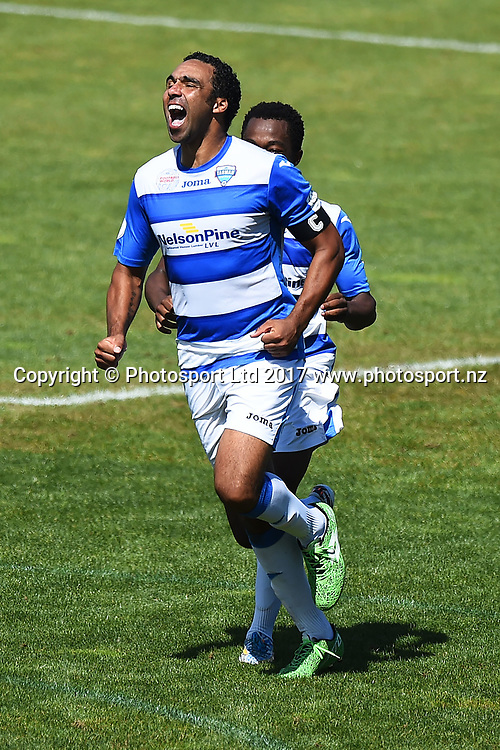 Tasman player Paul Ifill celebrates his hat trick during their Stirling Sports Premiership match Tasman Utd v Southern Utd. Trafalgar Park, Nelson, New Zealand. Saturday 18 March 2017. ©Copyright Photo: Chris Symes / www.photosport.nz