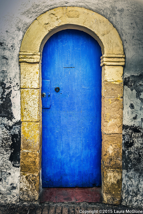Simple Moroccan Doorway, blue with yellow stone, Morocco