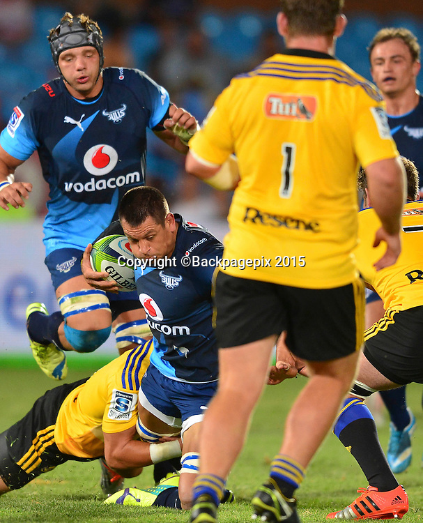 Pierre Spies of the Bulls during the 2015 Super Rugby rugby match between the Bulls and the Hurricanes at Loftus Versfeld in Pretoria, South Africa on February 20, 2015 ©/BackpagePix