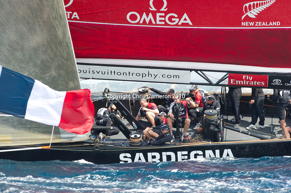 Emirates Team New Zealand race against Eleph (FRA). Day six of the Louis Vuitton Trophy. La Maddalena, Sardinia, Italy. 27/5/2010