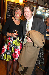 FIONA SANDERSON and LORD BINGHAM, son and heir of the missing 7th Earl of Lucan at a pre-screening party of a film by Fiona Sanderson entitled 'The Hunt For Lord Lucan' held at Langans, 254 Old Brompton Road, London SW7 on 8th November 2004.<br />