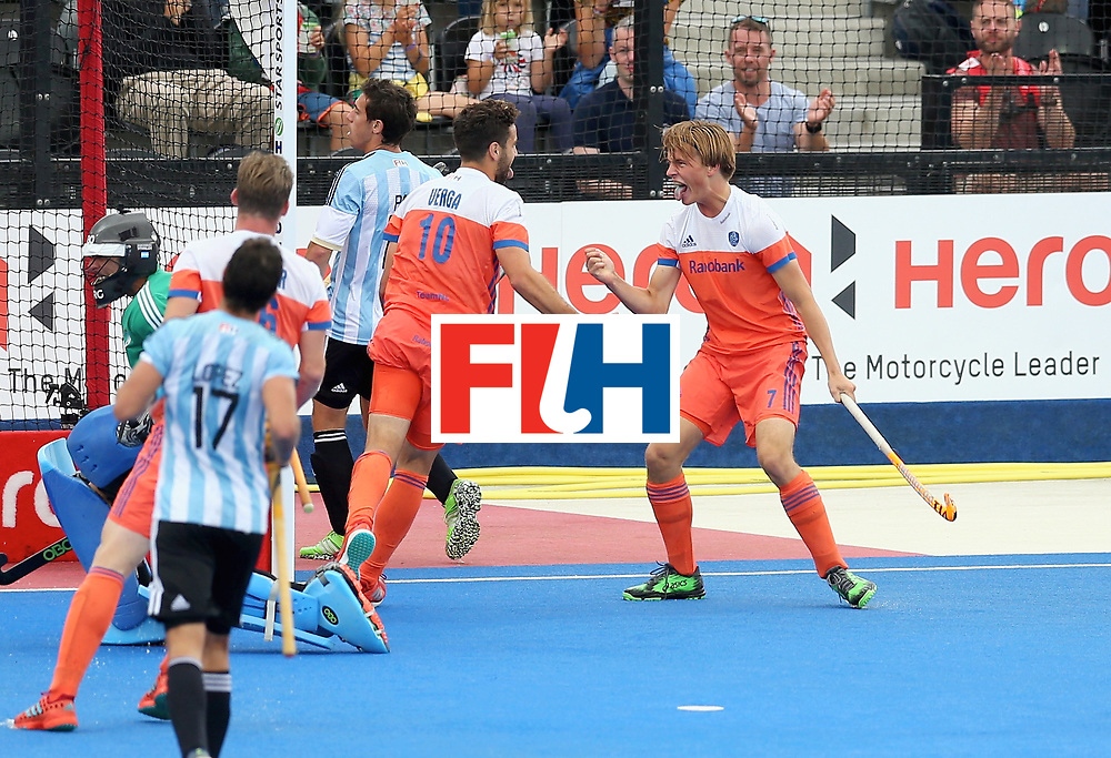 LONDON, ENGLAND - JUNE 25:  Valentin Verga of the Netherlands celebrates scoring their teams second goal with teammates during the final match between Argentina and the Netherlands on day nine of the Hero Hockey World League Semi-Final at Lee Valley Hockey and Tennis Centre on June 25, 2017 in London, England.  (Photo by Steve Bardens/Getty Images)