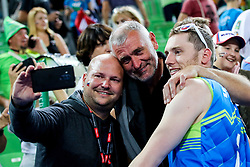 Toncek Stern #1 (SLO) celebrates with family and friends after volleyball match between National teams of Slovenia and Poland in semifinal of 2019 CEV Volleyball Men's European Championship in Ljubljana, on September 26, 2019 in Arena Stozice. Ljubljana, Slovenia. Photo by Matic Klansek Velej / Sportida