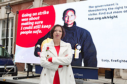 © Licensed to London News Pictures. 02/11/2015. London, UK. General Secretary of the Trades Union Congress (TUC), FRANCES O'GRADY launches a new advertising campaign about protecting the right to strike. The campaign launch coincides with a day of action by the TUC to rally and lobby parliament against the Trade Union Bill. Photo credit : Vickie Flores/LNP