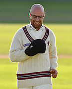 Jack Leach of Somerset during the Specsavers County Champ Div 1 match between Somerset County Cricket Club and Lancashire County Cricket Club at the Cooper Associates County Ground, Taunton, United Kingdom on 14 September 2017. Photo by Graham Hunt.
