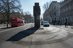 © Licensed to London News Pictures. 14/03/2016. London, UK. Tyre skid marks are clearly still visible after BBC Top Gear filmed an episode of the new series with actor MATT LEBLANC controversially close to the Cenotaph war memorial in Whitehall. Photo credit: Ben Cawthra/LNP