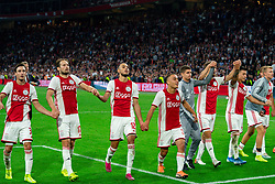 13-08-2019 NED: UEFA Champions League AFC Ajax - Paok Saloniki, Amsterdam<br />  Ajax won 3-2 and they will meet APOEL in the battle for a group stage spot / (L-R)a31/, Daley Blind #17 of Ajax, Noussair Mazraoui #12 of Ajax, Sergino Dest #28 of Ajax