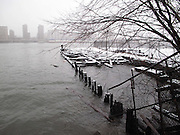 Winter under the Manhattan Bridge in Brooklyn, New York