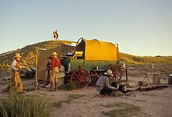Cowboys and chuck wagon, open range, Texas Panhandle.