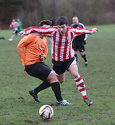Dundee Argyle (red and white stripes) v Michelin (orange)  - Riverview Utilities Consulting Ltd Dundee Sunday FA League - Premier Division at Finlathen <br /> <br />  - &copy; David Young - www.davidyoungphoto.co.uk - email: davidyoungphoto@gmail.com