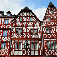 Half-timbered Buildings in Hauptmarkt in Trier, Germany<br />
