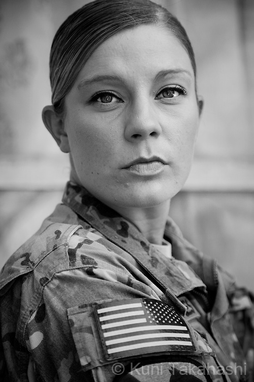 SGT Jessica Carnes, 26, of San Antonio, TX.Chaplains assistant, Head Quarters Company, 1st Cavalry Div.First deployment.at Bagram airfield, Afghanistan on Aug 22,2011.(Photo by Kuni Takahashi)