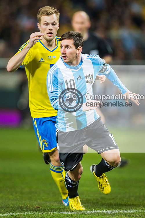 Solna 2013-02-06: <br /> <br /> Argentina 10 Lionel Messi looks to receive a pass after beating his marker. <br /> <br /> (Photo: Michael Campanella / Pic-Agency)