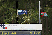 Flags at half mast after the death of former All Black John Drake at the University Oval on day 4.<br />New Zealand v West Indies, First Test Match, National Bank Test Series, University Oval, Dunedin, Sunday 14 December 2008. Photo: Andrew Cornaga/PHOTOSPORT