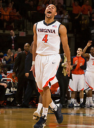 Virginia guard Calvin Baker (4) celebrates during the UMD game.  The Virginia Cavaliers defeated the Maryland Terrapins 68-63 at the John Paul Jones Arena on the Grounds of the University of Virginia in Charlottesville, VA on March 7, 2009.