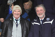 Bobby Ford, scorer of the first ever goal in the Premier Division, on the opening day of season 1975-76 against Aberdeen and a member of Dundee's 1973 League Cup winning team was a guest of the Dark Blues at the Dundee v Partick Thistle, SPFL Premiership match at Dens Park, he's pictures here with Dens director Bob Hynd<br /> <br />  - &copy; David Young - www.davidyoungphoto.co.uk - email: davidyoungphoto@gmail.com