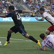 Philadelphia Union Midfielder Daniel Cruz (44) splits to defenders while attempting to pass the ball to Philadelphia Union Forward Jack McInerney (9) in the first half a MLS regular season match against the Portland Timbers Saturday, July. 20, 2013 at PPL Park in Chester PA.