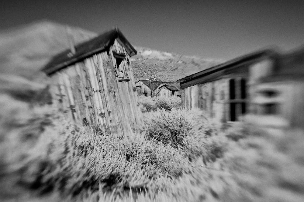 Ghost Town Outhouse - Bodie, CA - Lensbaby - Infrared Black & White