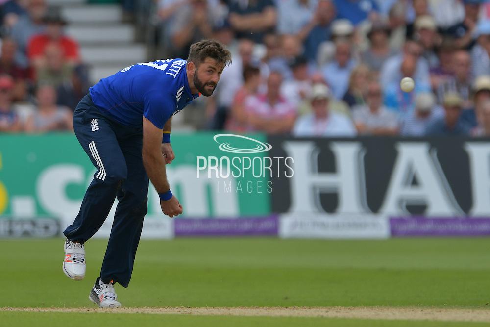 Liam Plunkett of England following through during the Royal London ODI match between England and Sri Lanka at Trent Bridge, West Bridgford, United Kingdom on 21 June 2016. Photo by Simon Trafford.