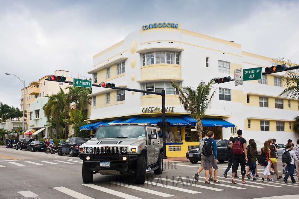 Hummer at corner of Collins Avenue and 14th Street by the Commodore and Cafe des Arts, South Beach, Miami, USA