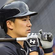 Masahiro Tanaka, New York Yankees, during batting practice before the New York Yankees V New York Mets, Subway Series game at Yankee Stadium, The Bronx, New York. 12th May 2014. Photo Tim Clayton