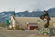 Downtown Joseph, Oregon which sits in Eastern Oregon at the base of the Wallowa Mountains