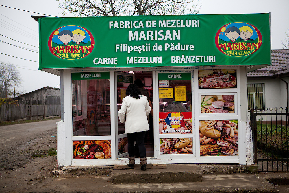 The local butcher in the village located at the main road of Marginenii de Jos.