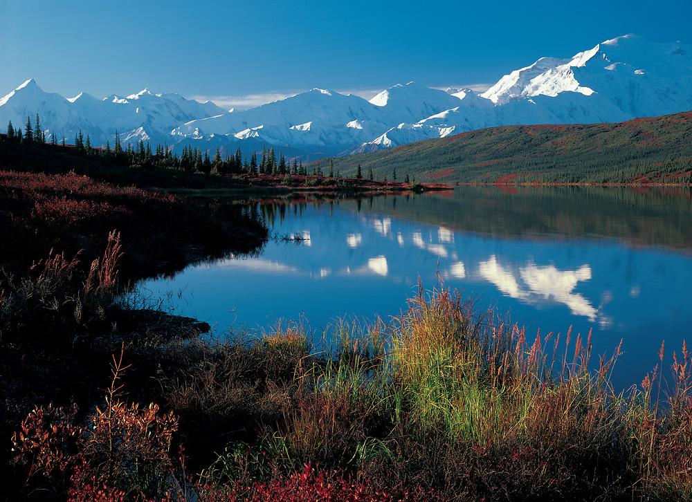 Alaska. Mt McKinley with reflection in Wonder Lake.