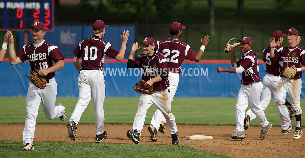 Kingston players celebrate their 1-0 victory over Horseheads in a state Class AA quarterfinal game at SUNY New Paltz on Tuesday, June 5, 2012.