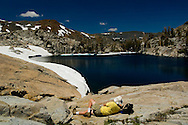 Lake Le Conte and the high alpine mountain peaks of Desolation Wilderness, El Dorado National Forest, California