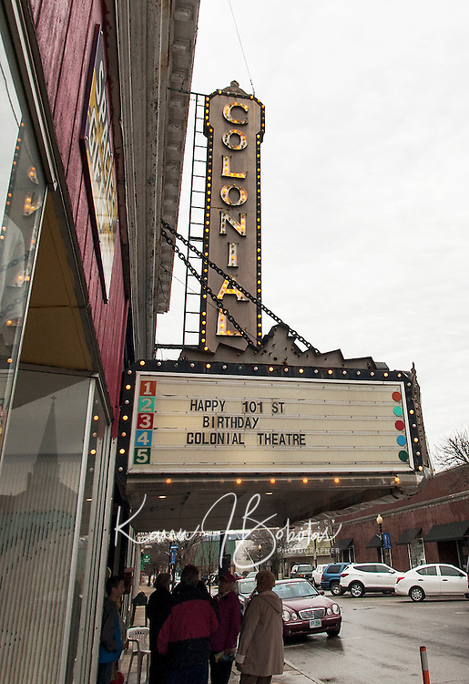 In honor of her 101st birthday the Colonial Theater lights were turned on for a celebration gathering outside the entrance on Main Street Sunday afternoon.  (Karen Bobotas/for the Laconia Daily Sun)