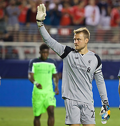 SANTA CLARA, USA - Saturday, July 30, 2016: Liverpool's goalkeeper Simon Mignolet after the 2-0 victory over AC Milan during the International Champions Cup 2016 game on day ten of the club's USA Pre-season Tour at the Levi's Stadium. (Pic by David Rawcliffe/Propaganda)