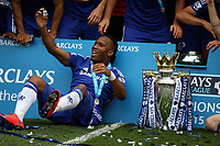 Football - 2014 / 2015 Premier League - Chelsea vs. Sunderland.   <br /> <br /> Chelsea's Didier Drogba with the Premier League Trophy at Stamford Bridge. <br /> <br /> COLORSPORT/DANIEL BEARHAM