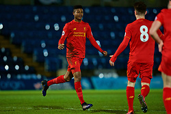 HIGH WYCOMBE, ENGLAND - Monday, March 6, 2017: Liverpool's Rhian Brewster celebrates scoring the second goal against Reading during FA Premier League 2 Division 1 Under-23 match at Adams Park Stadium. (Pic by David Rawcliffe/Propaganda)