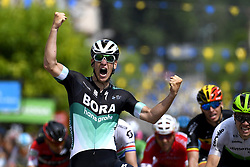 June 5, 2018 - Belleville, France - PASCAL ACKERMANN (GER)  of Bora - Hansgrohe celebrates winning stage 2 of the 70th edition of the Criterium du Dauphine Libere cycling race, a stage of 181 kms between Montbrison and Belleville in Belleville, France.  (Credit Image: © Panoramic via ZUMA Press)