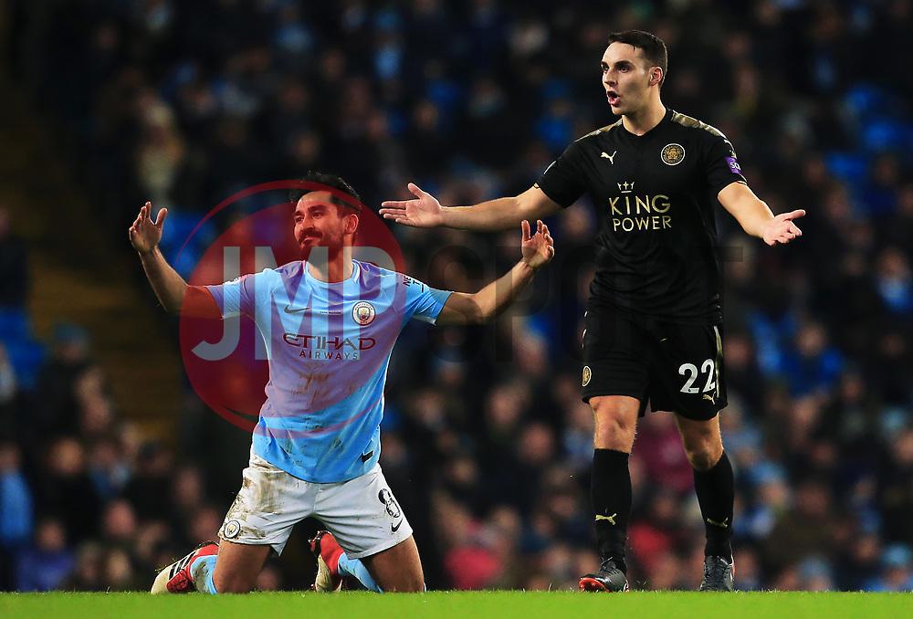 Matthew James of Leicester City and Ilkay Gundogan of Manchester City react - Mandatory by-line: Matt McNulty/JMP - 10/02/2018 - FOOTBALL - Etihad Stadium - Manchester, England - Manchester City v Leicester City - Premier League