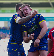 Mike Cooper (R) of Warrington Wolves celebrates scoring the1st try against Hull Kingston Rovers during the Betfred Super League match at the Halliwell Jones Stadium, Warrington<br /> Picture by Stephen Gaunt/Focus Images Ltd +447904 833202<br /> 14/04/2018